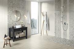 Bodenfliesen Holzoptik: 20 x 80cm, 46,30 EUR/qm  Mosaik: 5 x 5cm, 79,51 EUR/qm Mosaik: 2 x 2cm, 117,26 EUR/qm